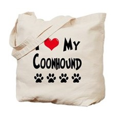 I Love My Coonhound Tote Bag