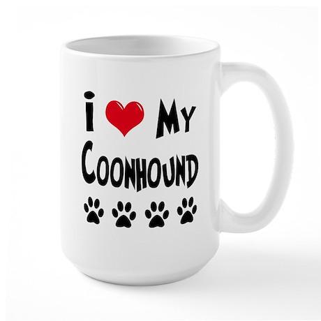 I Love My Coonhound Large Mug