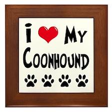 I Love My Coonhound Framed Tile