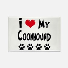 I Love My Coonhound Rectangle Magnet