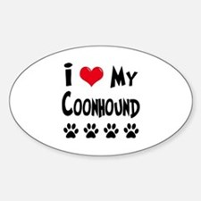 I Love My Coonhound Sticker (Oval)