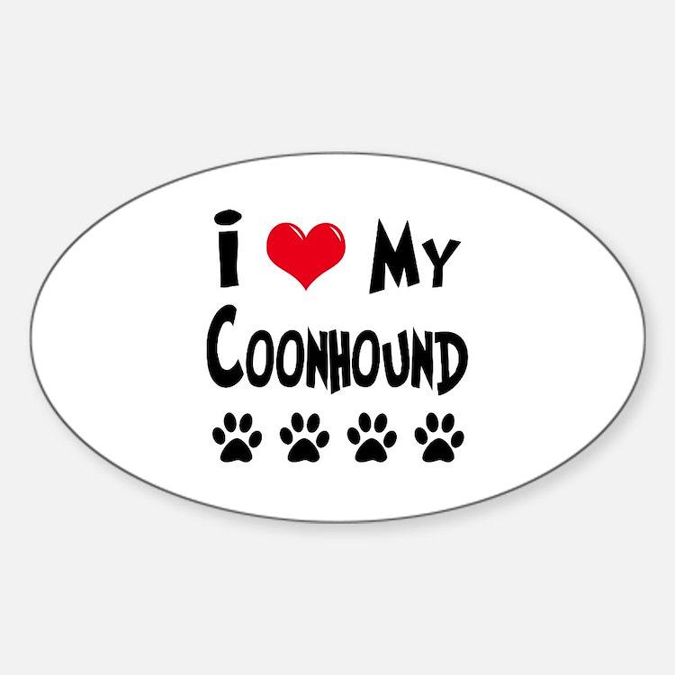 I Love My Coonhound Sticker (Oval)