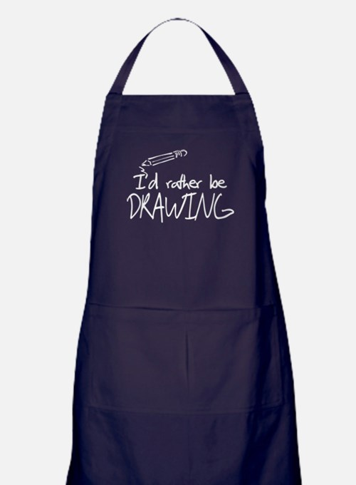 I'd Rather Be Drawing Apron (dark)
