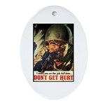 Don't Get Hurt Poster Art Oval Ornament