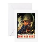 Don't Get Hurt Poster Art Greeting Cards (Package