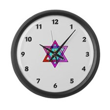 Jewish Star Of David Large Wall Clock