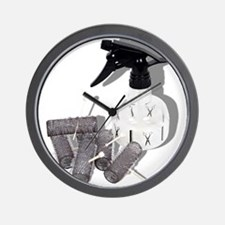 Hair Rollers and Spray Bottle Wall Clock