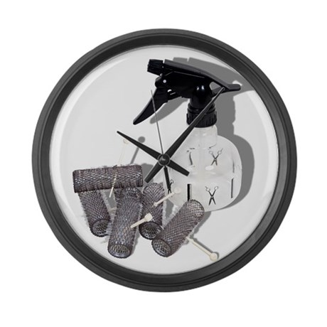 Hair Rollers and Spray Bottle Large Wall Clock