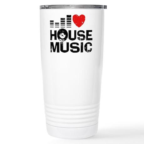 I Love House Music Stainless Steel Travel Mug