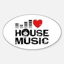 I Love House Music Sticker (Oval)