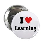 """I Love Learning: 2.25"""" Button"""
