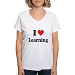 I Love Learning: Women's V-Neck T-Shirt