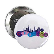 """Chicago Circles And Skyline 2.25"""" Button"""