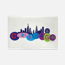 Chicago Circles And Skyline Rectangle Magnet