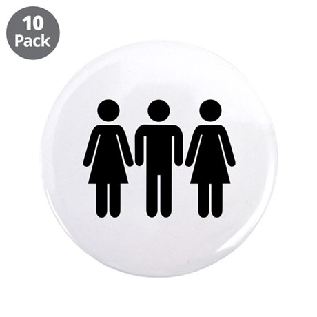 "Threesome 3.5"" Button (10 pack)"