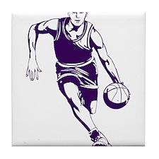 BASKETBALL *1* {purple/white} Tile Coaster