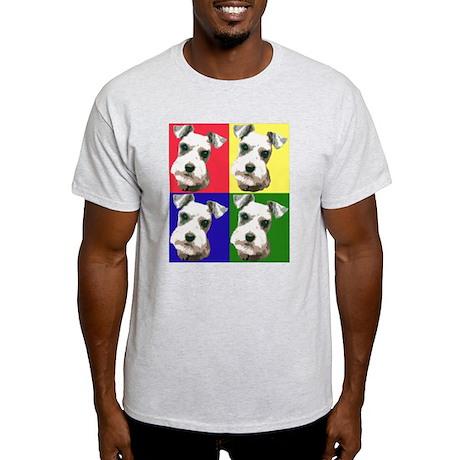 Color Block Schnauzer Ash Grey T-Shirt