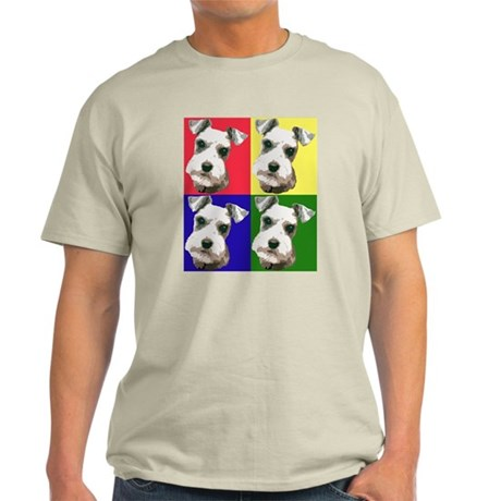 Color Block Schnauzer Ash Grey T-Shirt