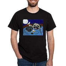 Hot Tub Pugs Black T-Shirt