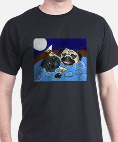 Hot Tub Pugs Black T-Shirt