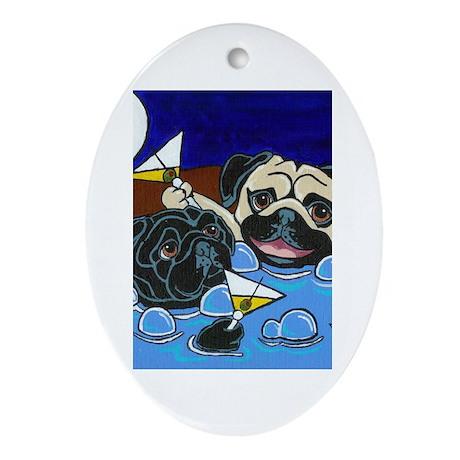 Hot Tub Pugs Oval Ornament