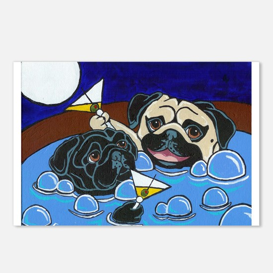 Hot Tub Pugs Postcards (Package of 8)