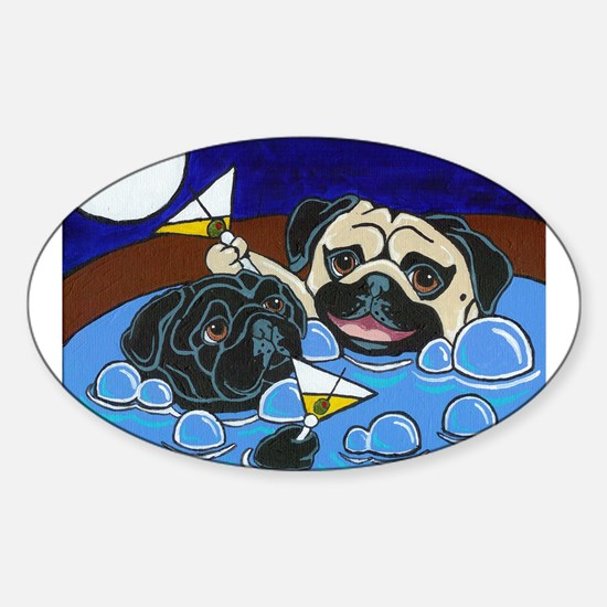 Hot Tub Pugs Oval Decal