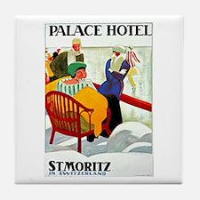 St. Moritz Switzerland Vintage Tile Coaster
