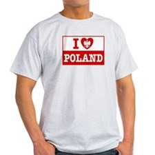 I Love Poland Flag Ash Grey T-Shirt
