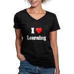 I Love Learning: Women's V-Neck Dark T-Shirt