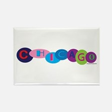 Chicago Words in Circles Rectangle Magnet