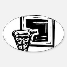 BASKETBALL *10* {black} Sticker (Oval)