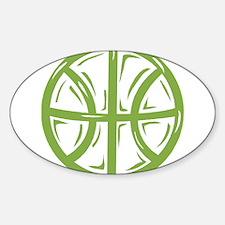 BASKETBALL *11* {green} Sticker (Oval)