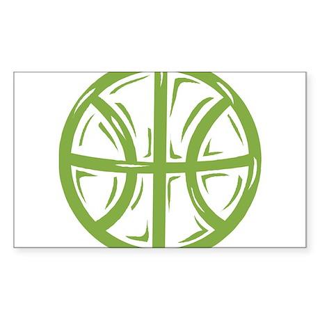 BASKETBALL *11* {green} Sticker (Rectangle)