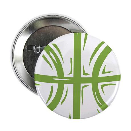 """BASKETBALL *11* {green} 2.25"""" Button (100 pack)"""