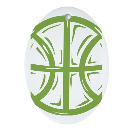BASKETBALL *11* {green} Ornament (Oval)