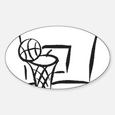 BASKETBALL *18* {gray} Sticker (Oval)