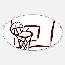 BASKETBALL *18* {crimson} Sticker (Oval)