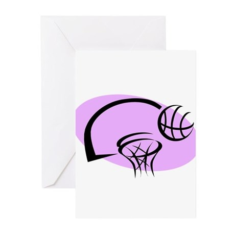 BASKETBALL *35* {purple} Greeting Cards (Pk of 10)