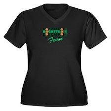 BASKETBALL FEVER {black/green Women's Plus Size V-