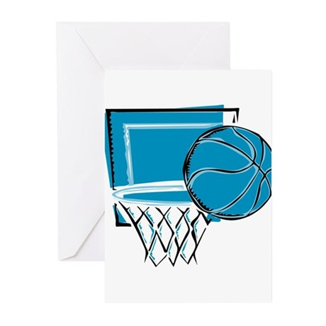 BASKETBALL *52* {blue} Greeting Cards (Pk of 10)
