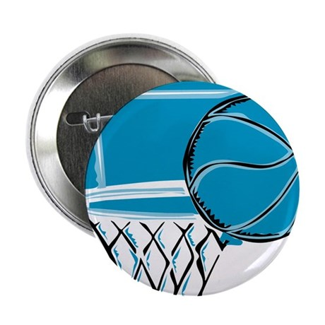 "BASKETBALL *52* {blue} 2.25"" Button (100 pack)"