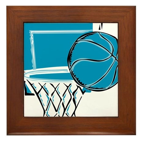 BASKETBALL *52* {blue} Framed Tile