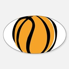 BASKETBALL *60* {yellow} Sticker (Oval)