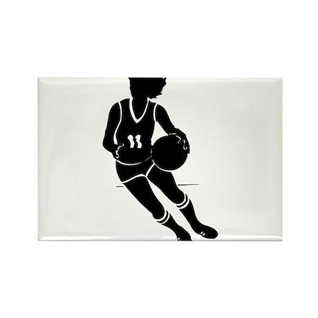 BASKETBALL *61* {black} Rectangle Magnet (100 pack