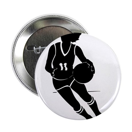 "BASKETBALL *61* {black} 2.25"" Button (10 pack)"