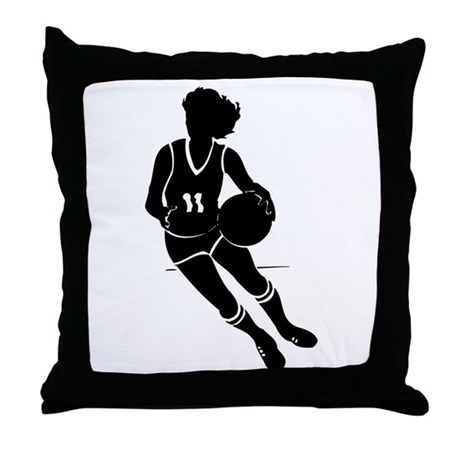 BASKETBALL *61* {black} Throw Pillow