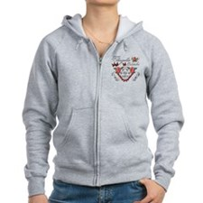 Women Zip Hoodie with red roses and butterflies