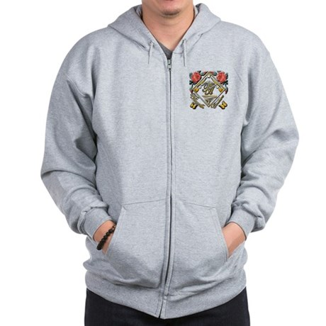 Zip Hoodie with red roses and gold butterflies