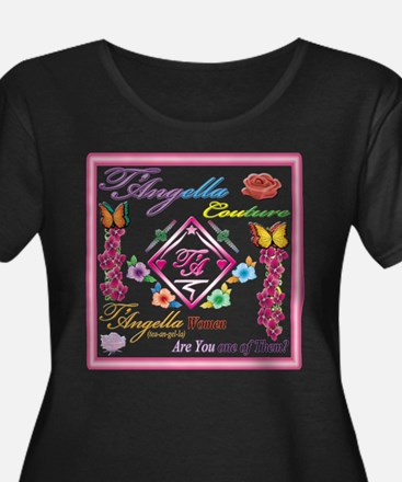 Women Plus Size Scoop Neck Dark T-Shirt with roses